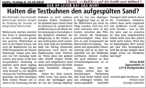 Leserbrief zur Wirkungslosigkeit durchlässiger Holzpfahlbuhnen 14.10.2016, HeiPo